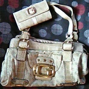 Gold guess purse